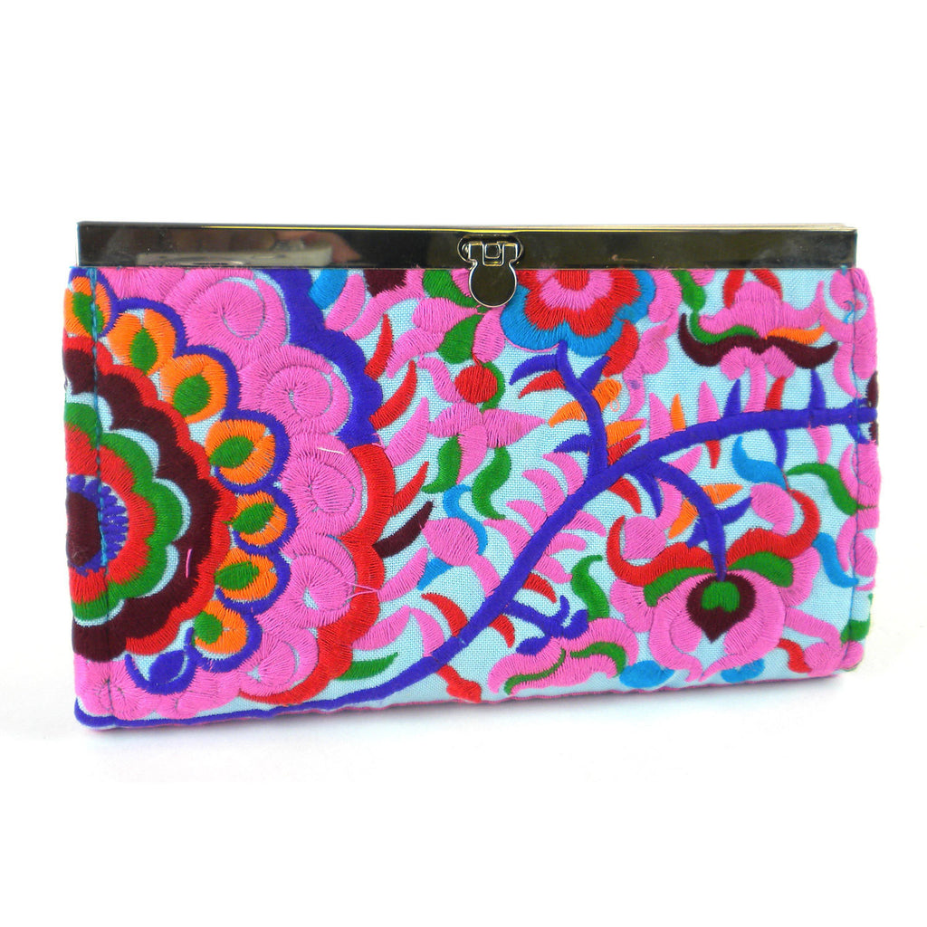 Turquoise Blossom Snap Clutch - Thailand