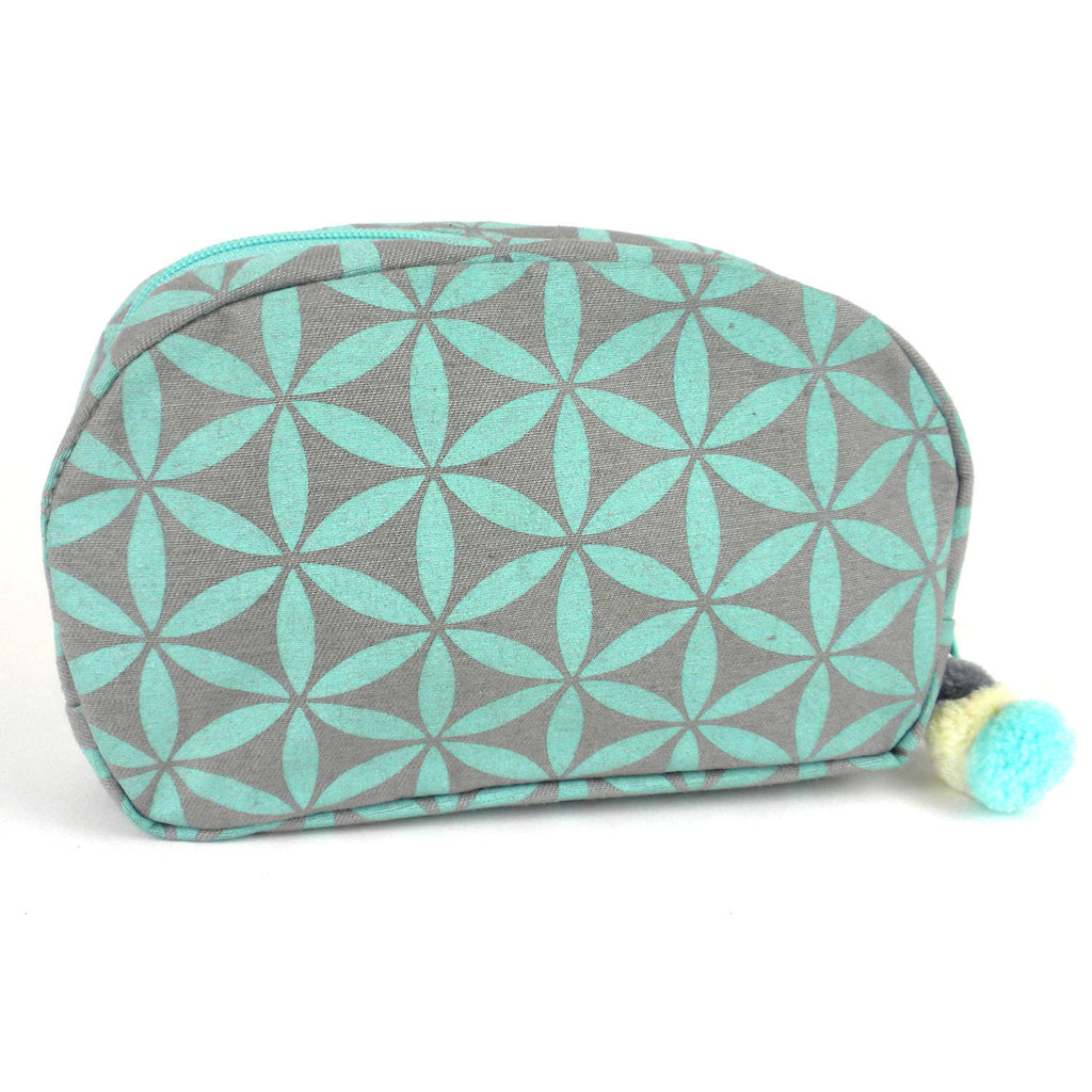 Flower of Life Makeup Bag Grey/Turquoise/Small - Thailand
