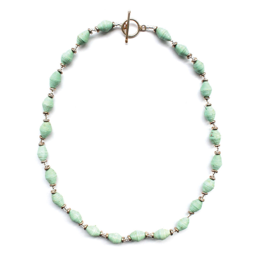 Single Strand Magazine Bead Necklace Seafoam - Kenya