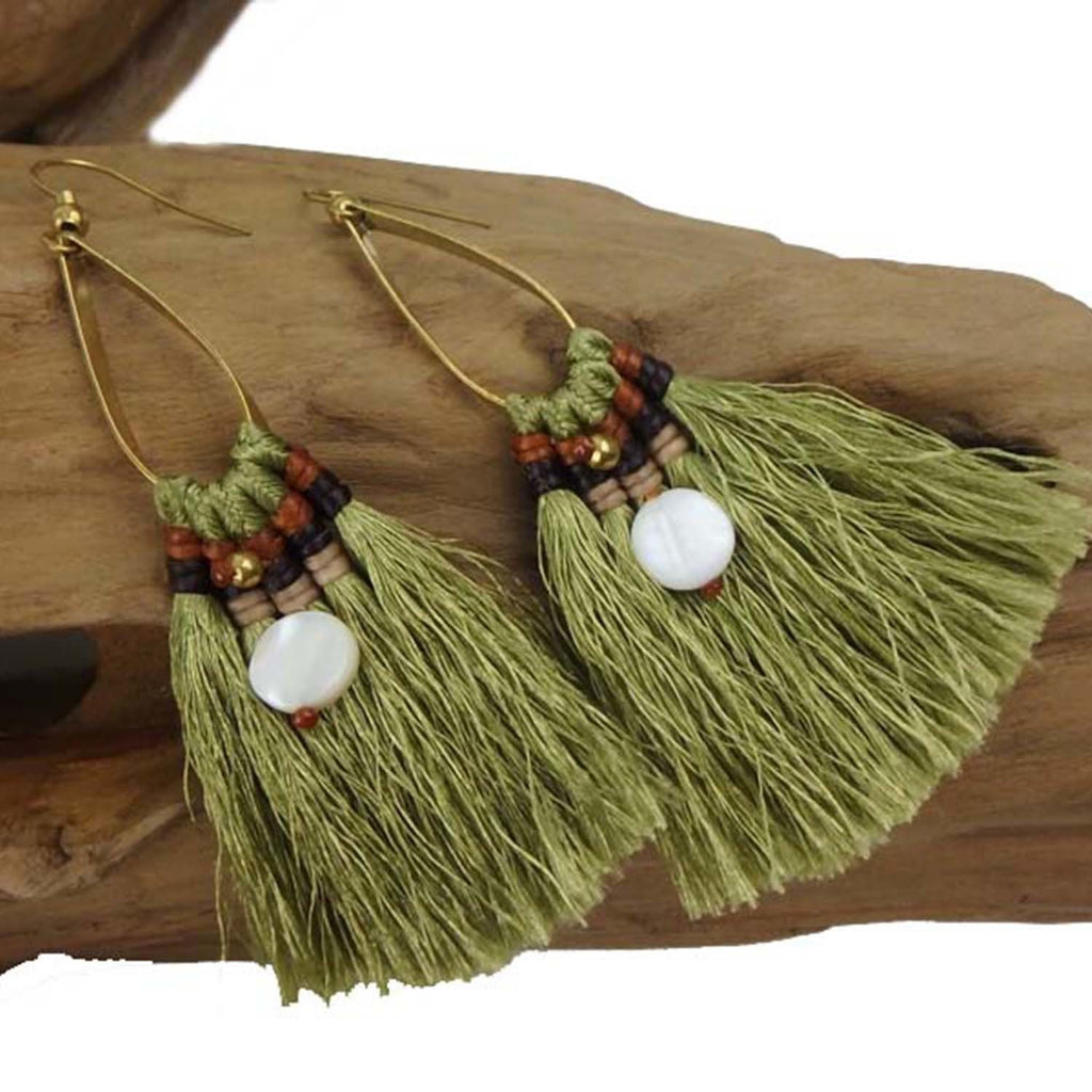 Fringe Earrings - Olive - Thailand