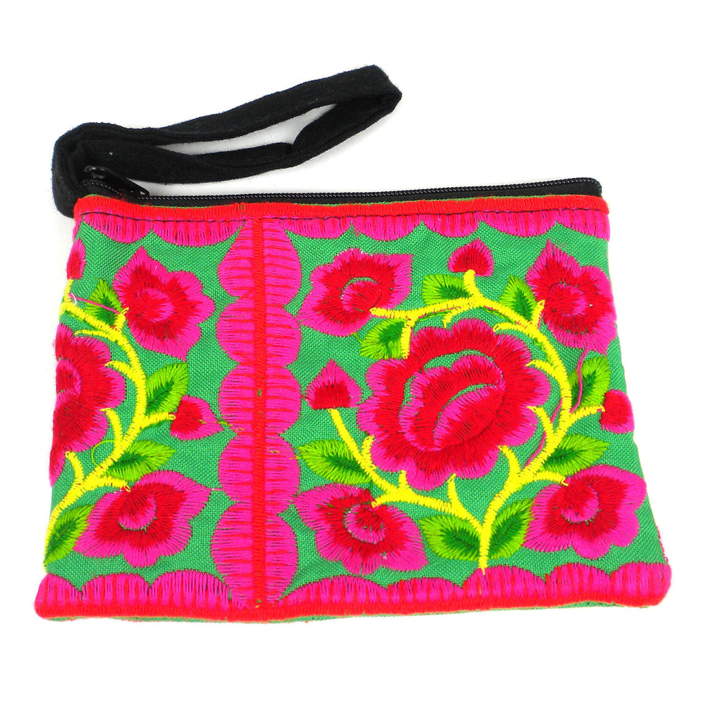 Hmong Embroidered Coin Purse - Green - Thailand
