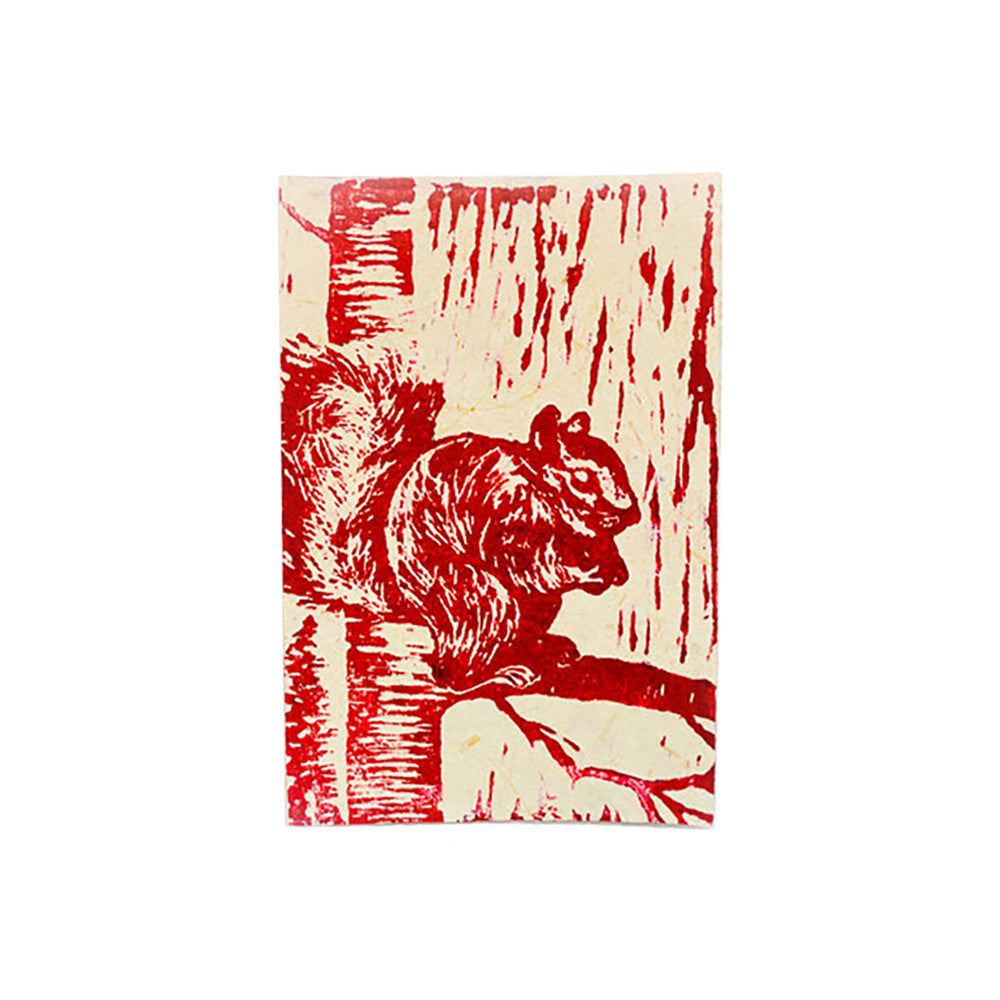 Block Print Greeting Card - Squirrel - Kenya