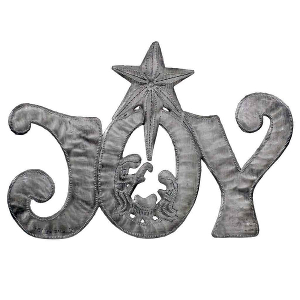 "JOY Metal Art with Nativity Scene (11"" x 8"") - Haiti"