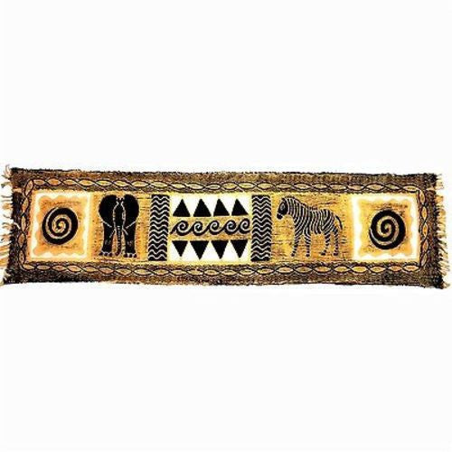 Horizontal Black and Natural Animal Batik Handmade and Fair Trade