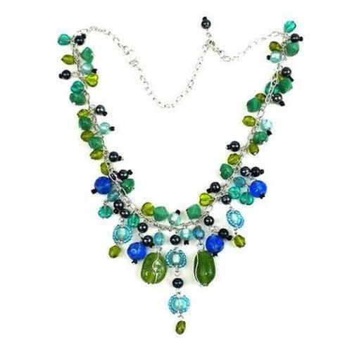 Green and Blue Glass Bead Charm Necklace Handmade and Fair Trade
