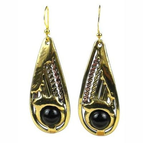 Brass and Onyx Earrings - South Africa