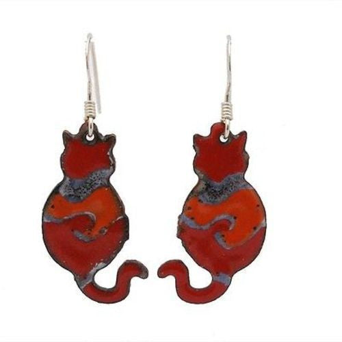 Enamel Cat Earrings- Red Handmade and Fair Trade