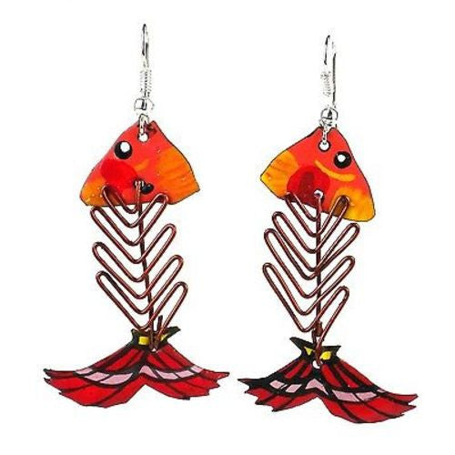 Recycled Tin and Wire Fish Bone Earrings - Kenya