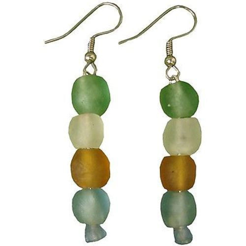 Rainbow Pearl Glass Bead Earrings Handmade and Fair Trade