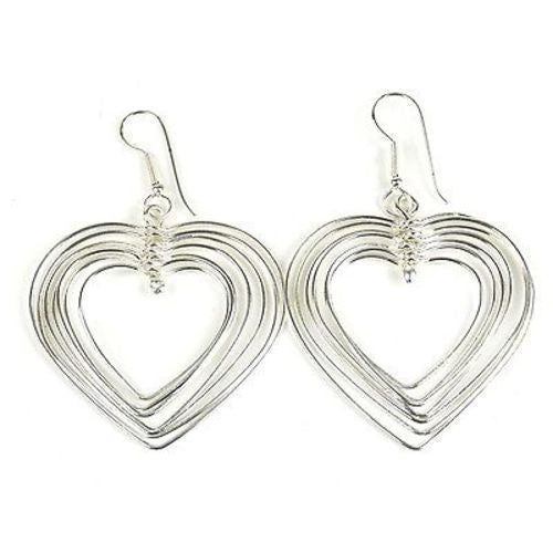 Large Silverplated Seven Hearts Earrings Handmade and Fair Trade