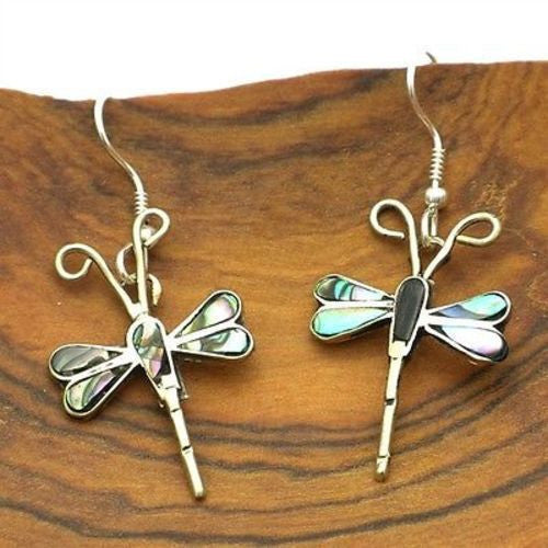 Abalone and Alpaca Silver Dragonfly Earrings Handmade and Fair Trade
