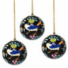 Handpainted Ornament Birds and Flowers, Black - Pack of 3 - India