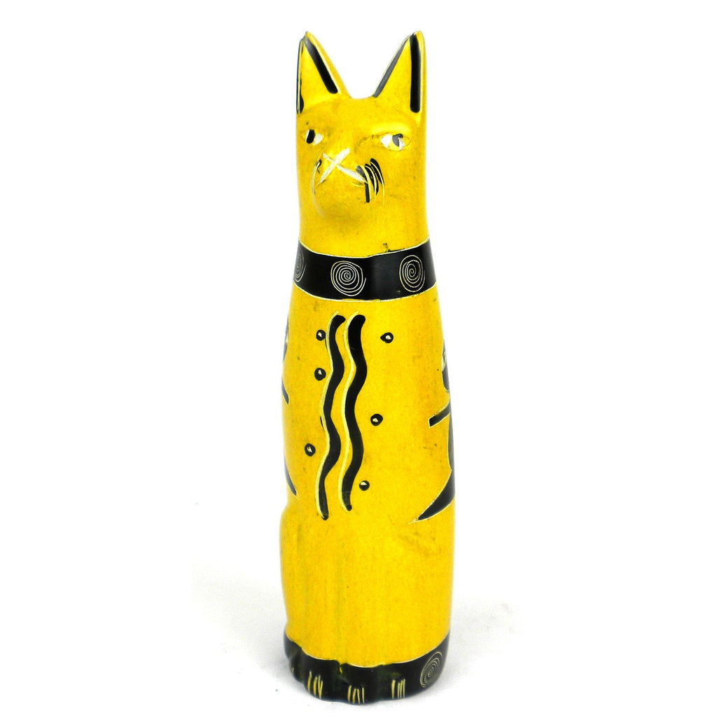Handcrafted 5-inch Soapstone Sitting Cat Sculpture in Yellow - Smolart
