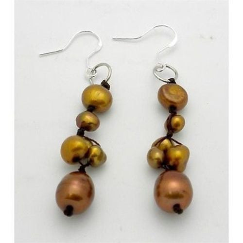 Handknotted Gold Freshwater Pearl Earrings Handmade and Fair Trade