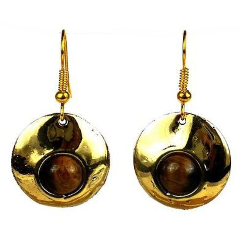 Bonbon Gold Tiger Eye Earrings Handmade and Fair Trade