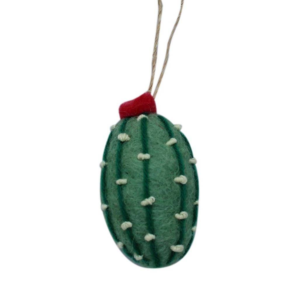 Short Cactus Felt Ornament (Sage Color) - Nepal