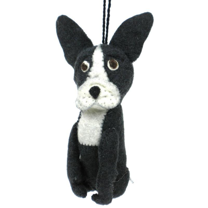 Felt Frenchie Dog Ornament - Kyrgyzstan