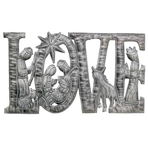 "LOVE Metal Art with Nativity Scene (9"" x 14"") - Haiti"