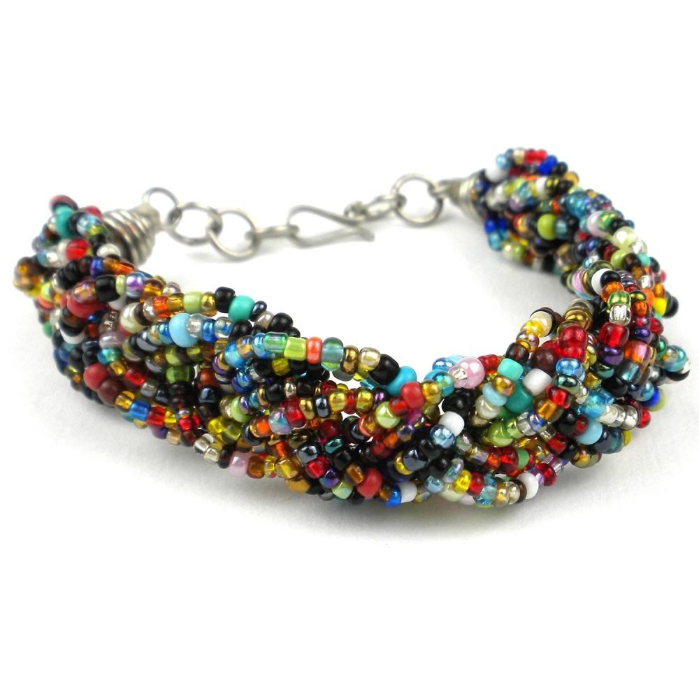 Multicolor Six Strand Braid Beaded Bracelet - Zakali Creations