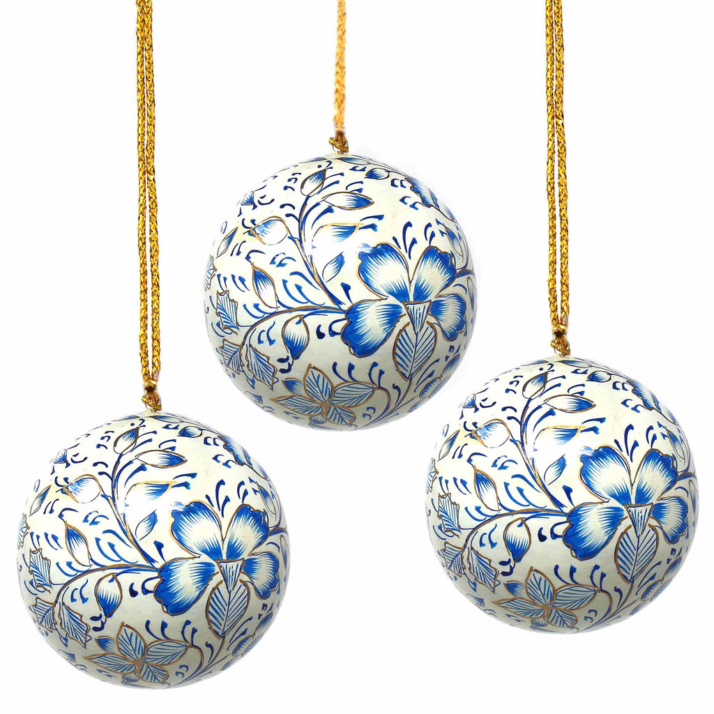 Handpainted Ornaments, Blue Floral - Pack of 3 - India