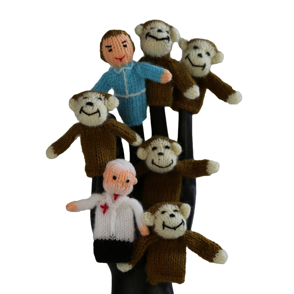 Five Little Monkeys Jumping On The Bed Finger Puppets - Set of 7  - Peru