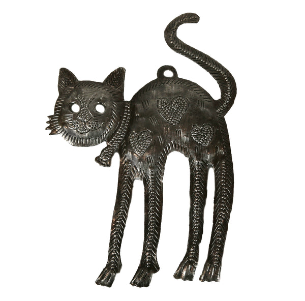 A Good Stretch - Small Metal Cat Wall Art Sculpture - Haiti
