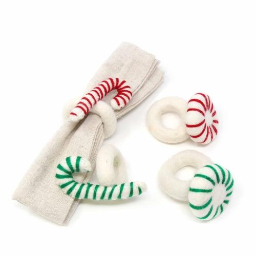 Hand Felted Peppermint Napkin Rings, Set of Four - Nepal