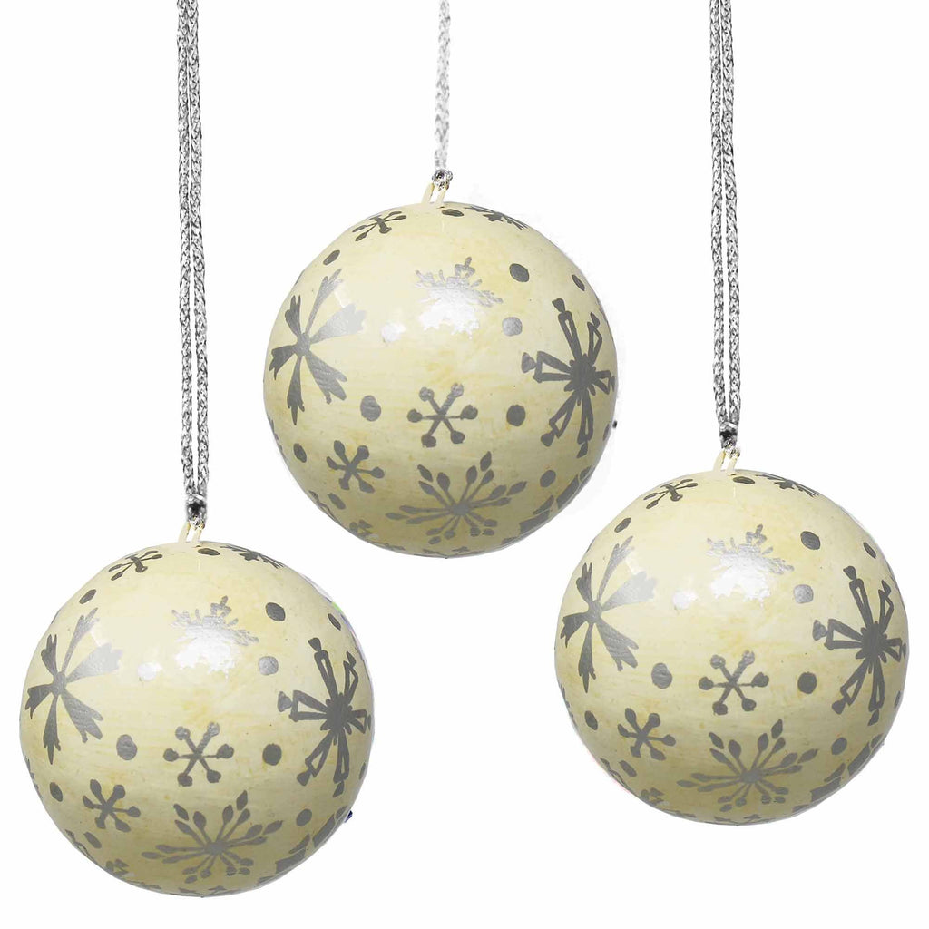 Handpainted Ornaments, Silver Snowflakes - Pack of 3 - India