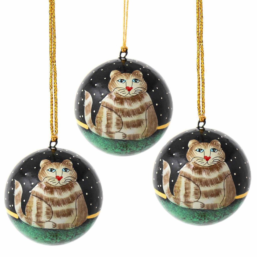 Handpainted Ornament Cat - Pack of 3 - India