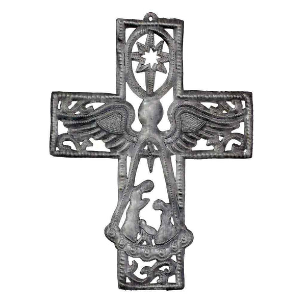 "Metal Cross with Angel and Nativity Scene (10"" x 14"") - Haiti"