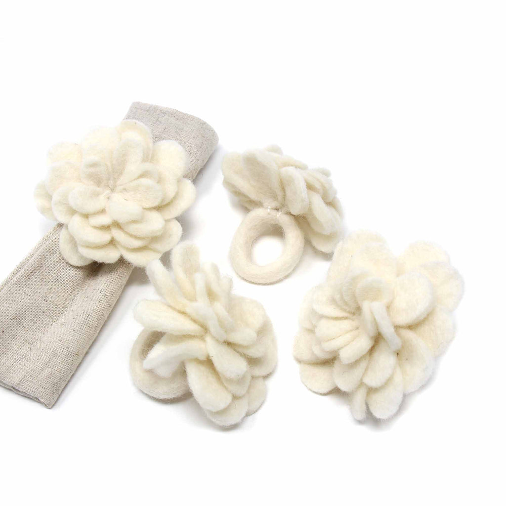 Set of 4 Felt Napkin Rings, Cream Zinnias - Nepal
