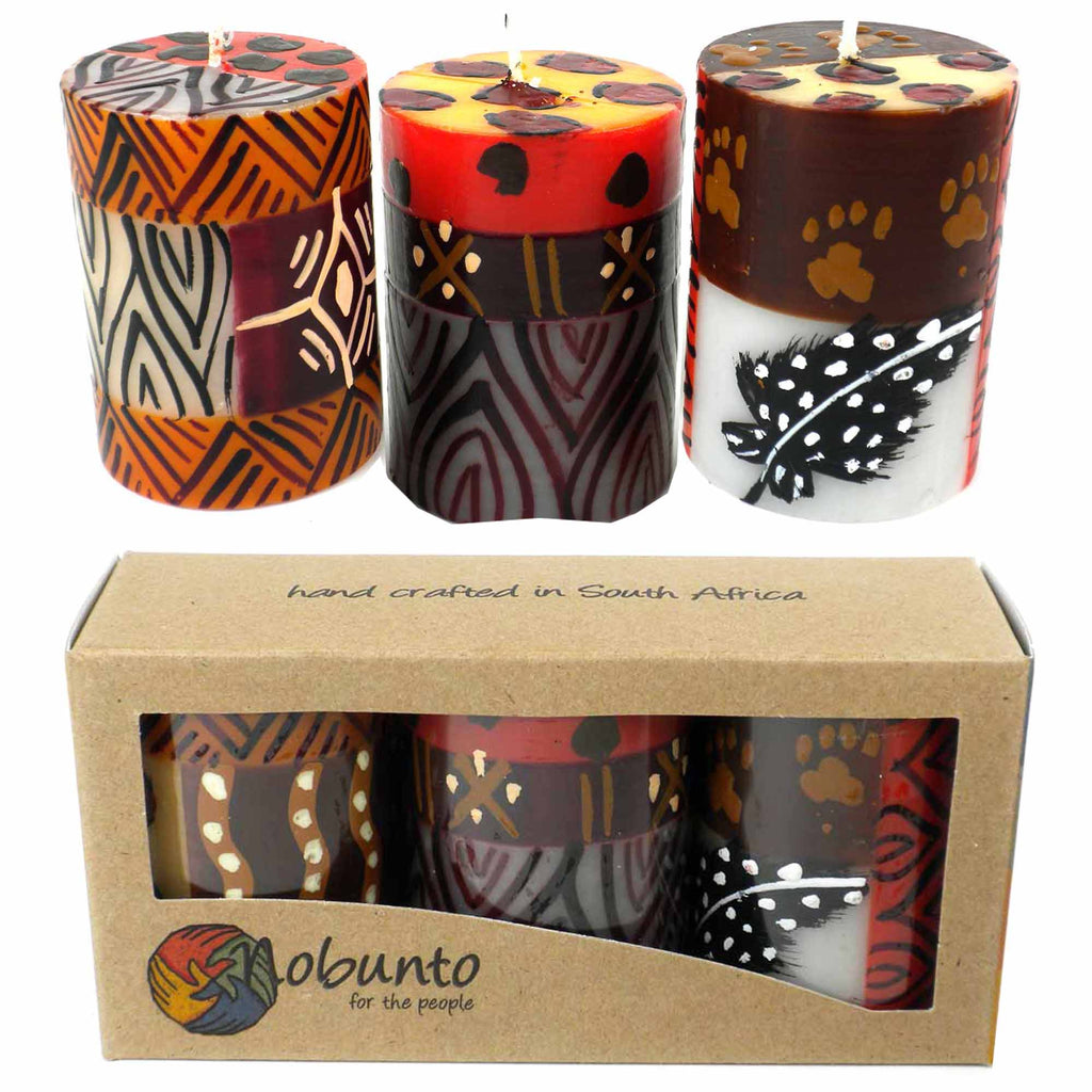 Set of Three Boxed Hand-Painted Candles - Uzima Design - South Africa