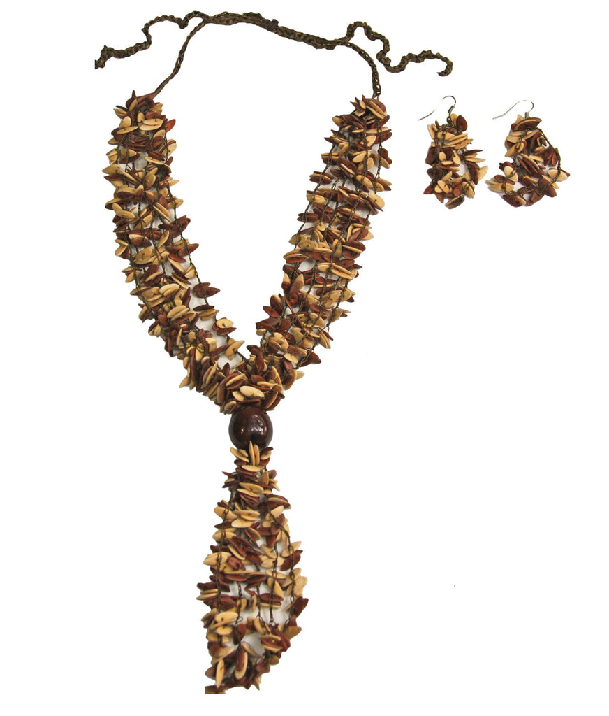 Brown and Cream Long Melon Seed Necklace and Earring Set - Colombia