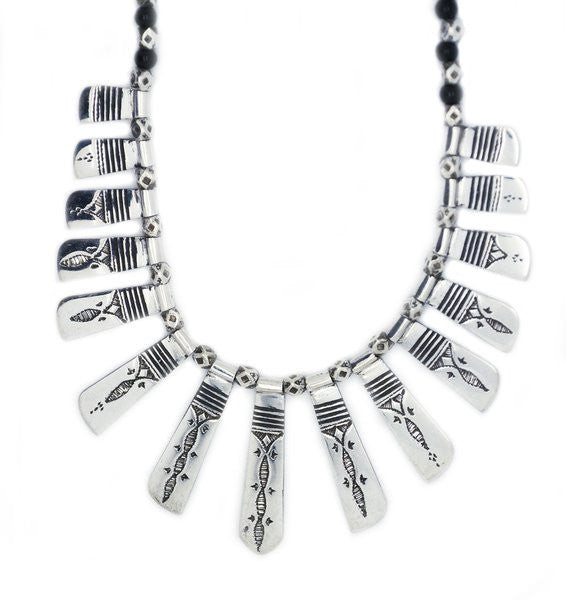 Fine Sterling Silver Celebra Necklace with Ebony Beads - Niger