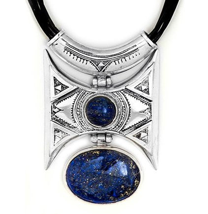 Fine Sterling Silver Festival Necklace Blue - Niger