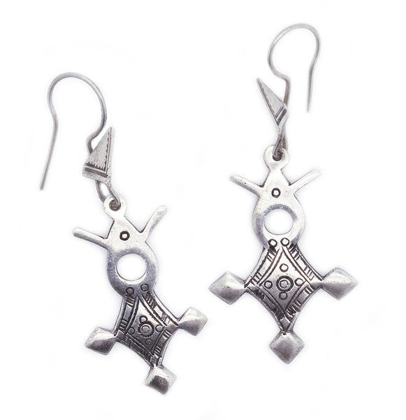 Fine Sterling Silver Agadez Cross Earrings Variation - Niger