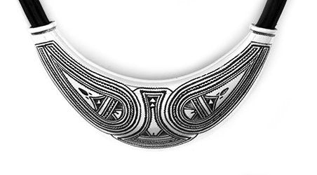 Fine Sterling Silver Collar with Leather - Niger