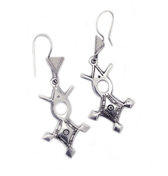 Fine Sterling Silver Agadez Cross Earrings - Niger