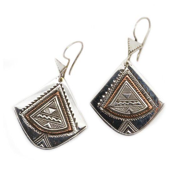 Fine Sterling Silver Fan Earrings With Copper Detail - Niger