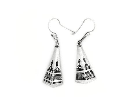 Fine Sterling Silver Long Pyramid Etched Earrings - Niger