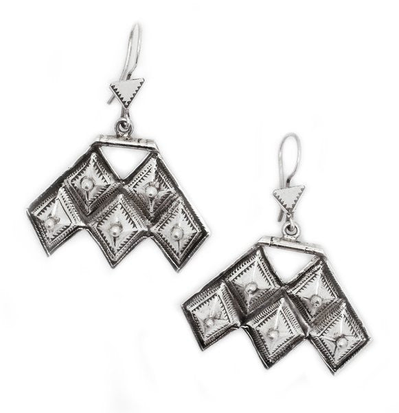 Fine Sterling Silver Hamsa Earrings - Niger