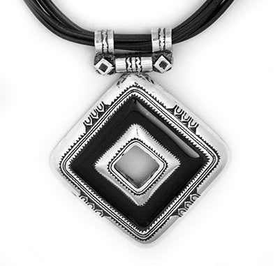 Fine Sterling Silver Black Onyx Pendant Necklace - Niger
