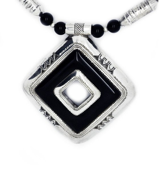 Fine Sterling Silver Black Onyx with Black Onyx & Silver Beads Necklace - Niger