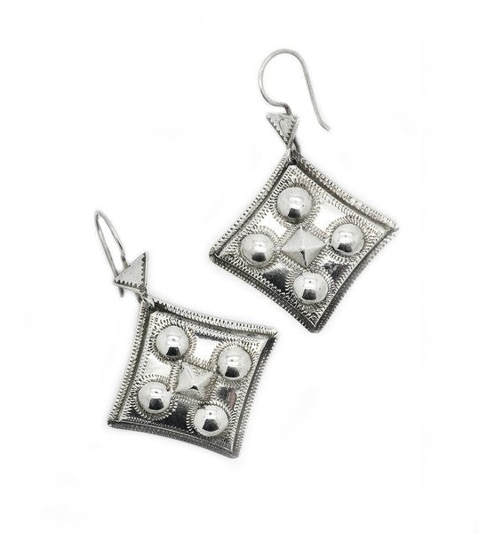 Fine Sterling Silver Diamond Dot Earrings - Niger