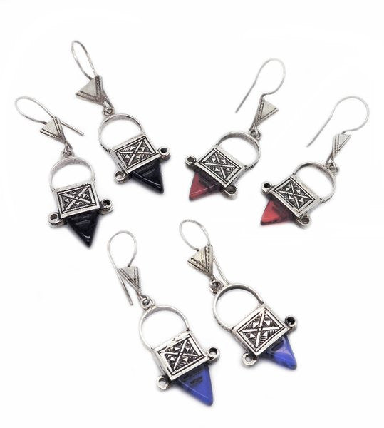 Fine Sterling Silver Ingal Cross Earrings - Mini - Red, Black, Blue Stones - Niger
