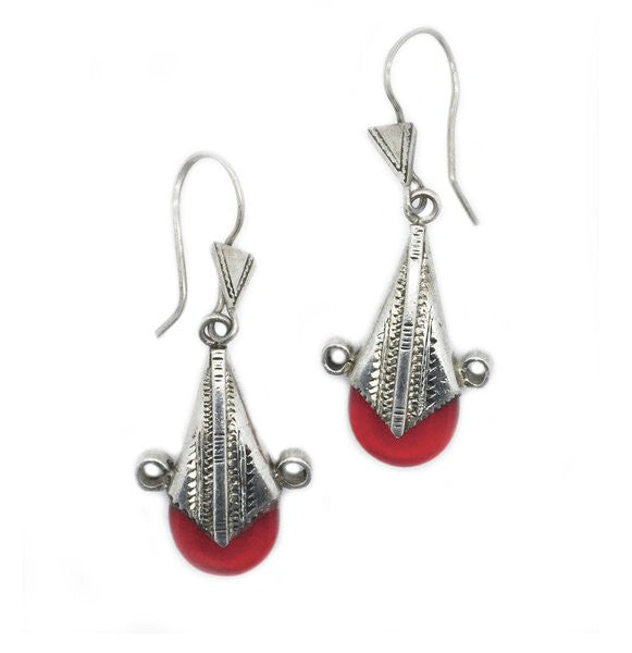 Fine Sterling Silver Red Glass Drop Earrings - Niger