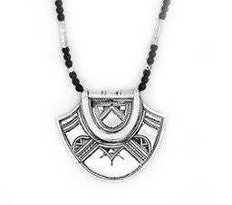 Fine Sterling Silver Hinged Semi Circle Necklace - Niger