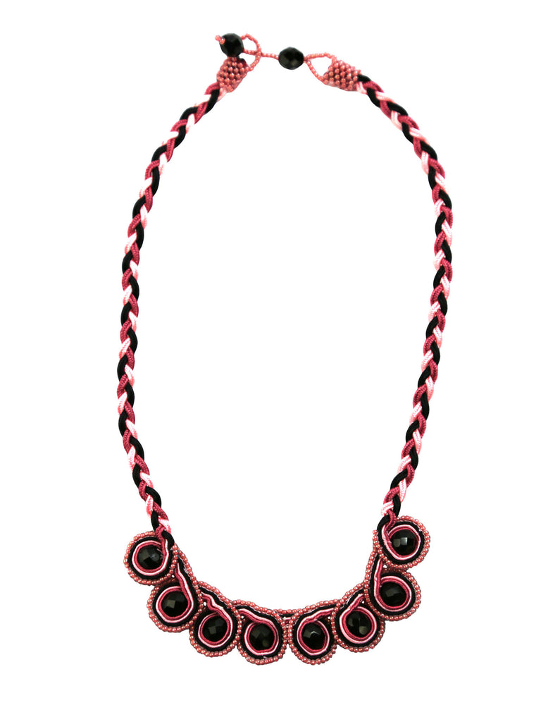 Pink and Black Beaded Swirl Sutash Necklace - Guatemala