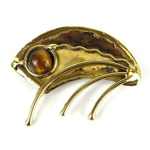 Umbrella Brass Brooch with Gold Tiger Eye Handmade and Fair Trade