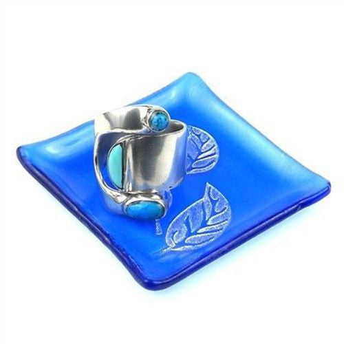 Etched Leaf Recycled Blue Glass Ring Tray Handmade and Fair Trade